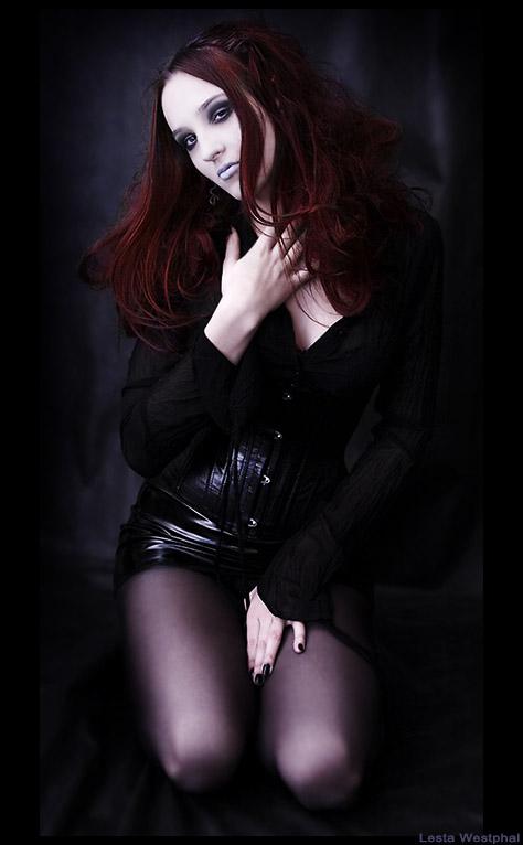 Beautiful Goth Wearing Purple Stockings