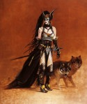 Valkyrie With Wolves