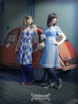 Blue Dress And Red Car