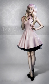 Pink latex flared skirt frock pretty