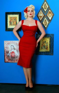 The Jessica Wiggle Dress in Vintage Red by Pinup Couture