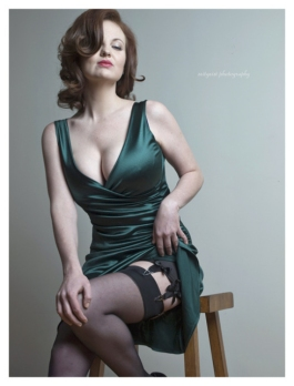 Green Dress With A Hint Of Stocking