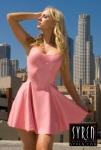 Ancilla Tilia in Syren Pink Latex Swing Dress