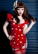 Red Love Heart Pin Up Pinny Apron Dress