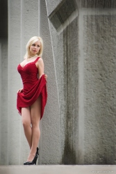 With the red dress