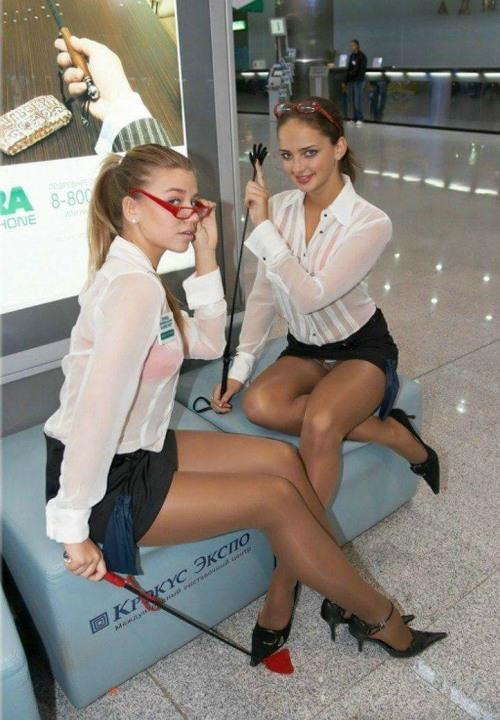 image Blonde air hostess taking traveling bbc