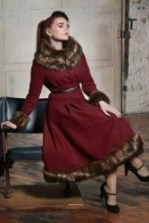30s Pearl Coat in Wine Wool