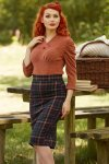 Alice Alberta Pencil Skirt in Blue Tartan