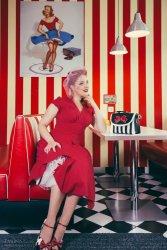 Claudette Swing Dress in Dark Red