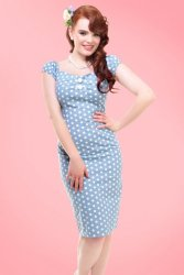 Dolores Polkadot Dress in Light Blue and White