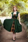 Ella Swing Dress in Emerald Green and Tartan