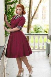 Ella Swing Dress in Raspberry and Tartan