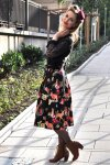50s Hermeline Floral Skirt in Black