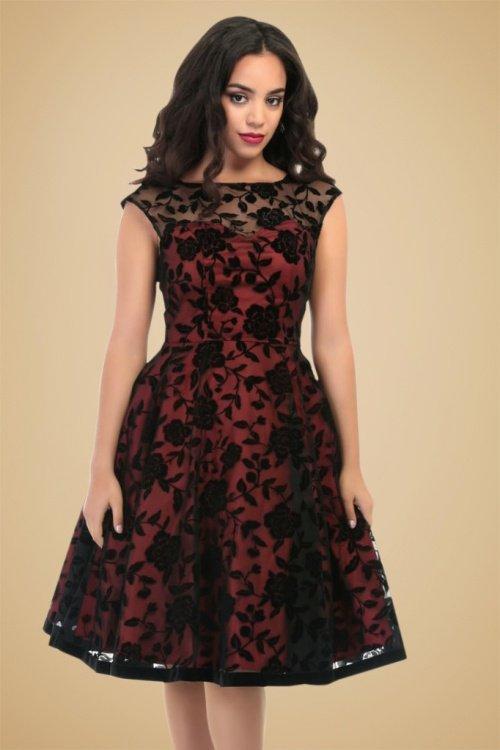 Faye Brocade Velvet Rose Swing Dress in Red