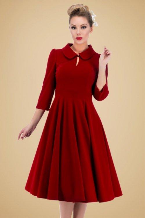 Florence Velvet Swing Dress in Burgundy