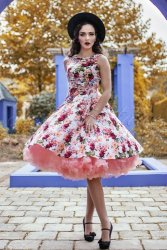 Hearts And Roses Floral Swing Dress in Ivory