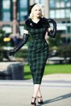 Rachel Tartan Pencil Dress in Green