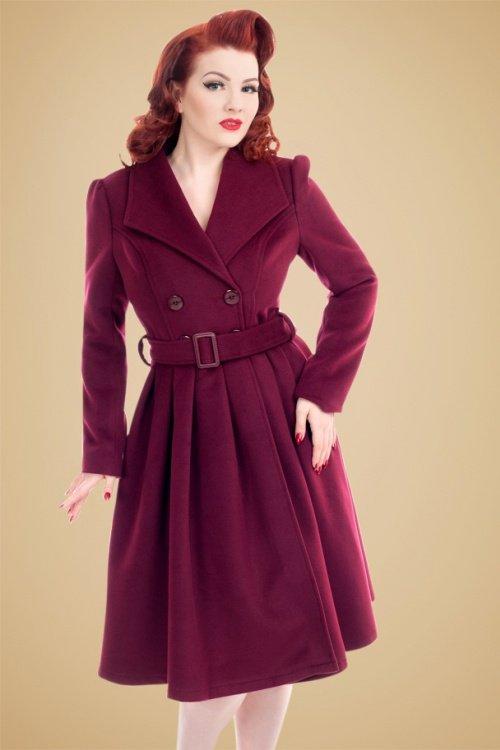 Rita Swing Coat in Wine Red